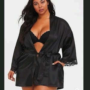 Torrid Black Satin Plus Size Robe